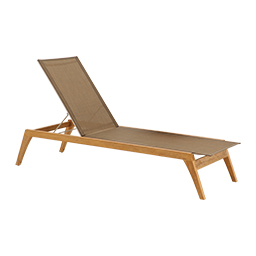 CL-2543-TEX Teak Stacking Chaise Lounge with Synthetic Fabric (White)