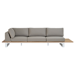 GB-2696-3 Teak Life Edge / Aluminium 3-Seater Right Corner Sofa with Tray