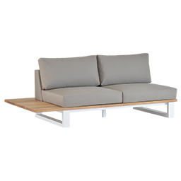 gb-2696-2 Teak Life Edge / Aluminium 2-Seater Side Sofa with Tray